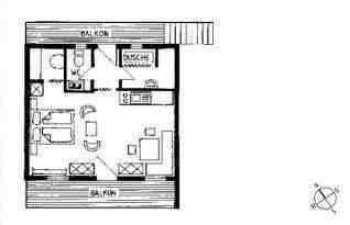Mini Dusche Grundriss : Internetzugang vorhanden, Mini-Stereo-Anlage und SAT-Fernseher.